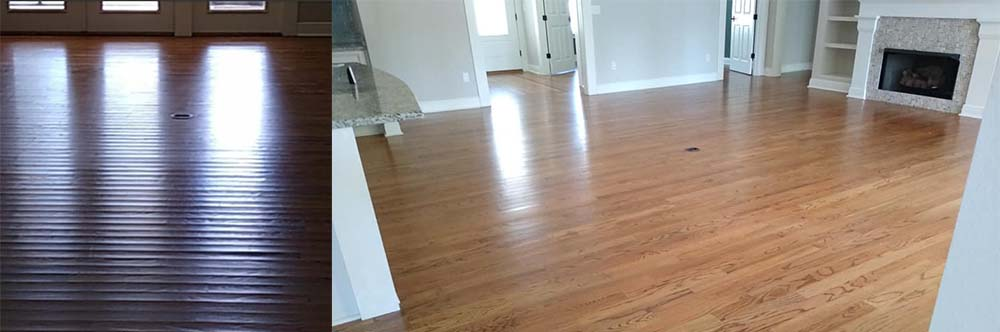 Hardwood before and after